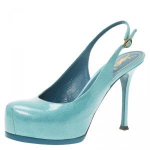 Saint Laurent Paris Light Blue Patent Tribtoo Slingback Sandals Size 38.5 - used