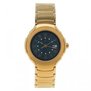 Saint Laurent Paris Blue Gold-Plated Stainless Steel Classic Women's Wristwatch 28MM