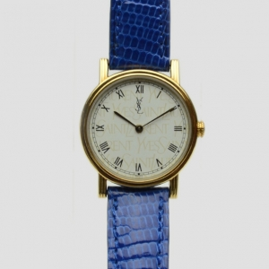 Yves Saint Laurent Gold Plated Blue Classic Collection Ladies Wristwatch 28 MM
