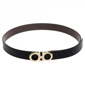 Salvatore Ferragamo Black Leather Hickory Buckle Belt 110CM