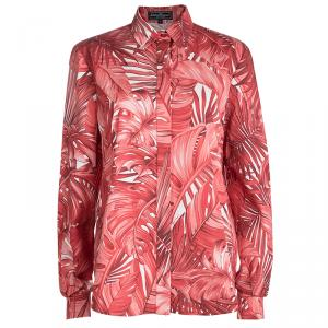 Salvatore Ferragamo Red Leaf Printed Cotton Long Sleeve Shirt L