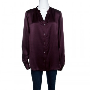Salvatore Ferragamo Burgundy Textured Silk Long Sleeve Shirt L