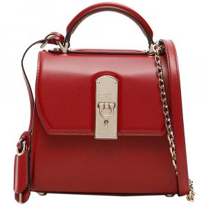 Salvatore Ferragamo Red Leather Boxy Small Bag