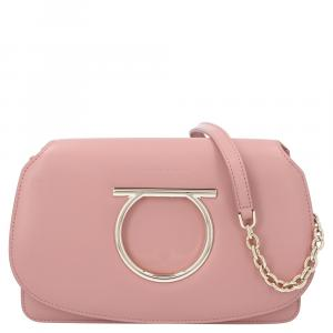 Salvatore Ferragamo Light Pink Mini Vela Leather Crossbody Bag