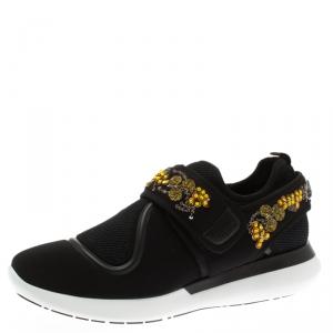 Salvatore Ferragamo Black Embellished Fabric Alicidi Sneakers Size 40.5