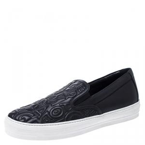 Salvatore Ferragamo Black Logo Embossed Leather Slip On Sneakers Size 40.5 -