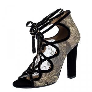 Salvatore Ferragamo Gold Lace And Black Velvet Tokara Ankle Wrap Sandals Size 37.5 - used