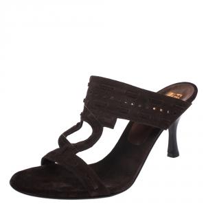Salvatore Ferragamo Brown Suede Gancini Cut Out Smeraldo Slide Sandals Size 41 - used