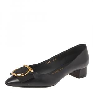 Salvatore Ferragamo Black Leather Bow Pointed Toe Flats Size 35.5