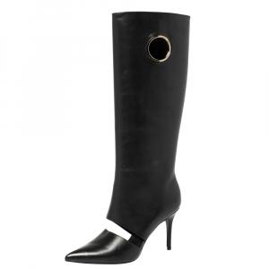 Salvatore Ferragamo Black Cutout Leather Eyelet Knee Boots Size 38.5