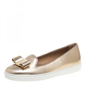 Salvatore Ferragamo Gold Leather Novello Bow Slip On Sneakers Size 36.5 - used