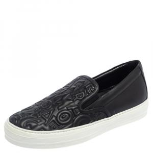 Salvatore Ferragamo Black Leather Logo Embossed Slip On Sneakers Size 40.5 - used