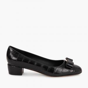 حذاء كعب عالي سالفاتوري فيراغامو حلية فارا جلد تمساح أسود مقاس أوروبي 37.5