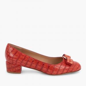 حذاء كعب عالي سالفاتوري فيراغامو فيونكة أورامنت فارا جلد تمساح أحمر مقاس  EU 36.5