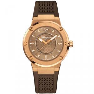 Salvatore Ferragamo Brown Gold Plated Stainless Steel FIG060015 Women's Wristwatch 33MM