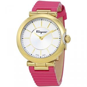 Salvatore Ferragamo Silver Gold Plated Stainless Steel FIN030015 Women's Wristwatch 36MM