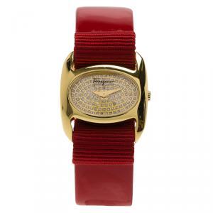 Salvatore Ferragamo Diamond Gold-Plated Stainless Steel Varina Women's Wristwatch 26MM