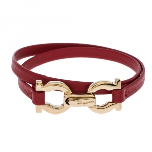 Salvatore Ferragamo Gancini Red Leather Gold Tone Double Wrap Slim Bracelet