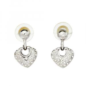 Salvatore Ferragamo Crystal Heart Drop Earrings