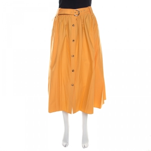 Salvatore Ferragamo Orange Cotton Gathered Belted Midi Skirt M