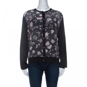 Salvatore Ferragamo Charcoal Grey Knit and Floral Printed Silk Cardigan XL