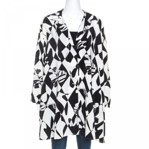 Salvatore Ferragamo Monochrome Shoe Printed Silk Oversized Shirt L
