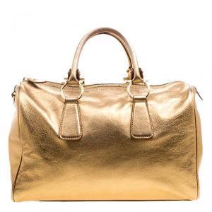 Salvatore Ferragamo Gold Leather Isabel Boston bag