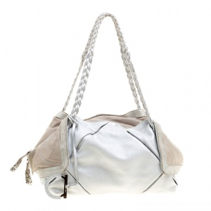 Salvatore Ferragamo Silver Leather and Suede Bowling Bag