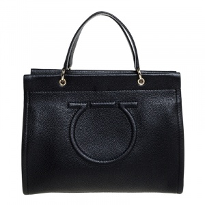 Salvatore Ferragamo Black Leather Medium Meera Tote