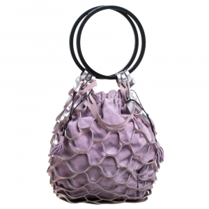 Salvatore Ferragamo Lavender Caged Leather and Suede Ring Handle Bag