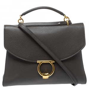 Salvatore Ferragamo Dark Brown Leather Gancini Top Handle Bag
