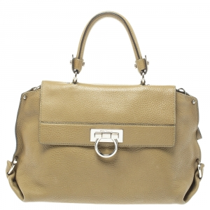 Salvatore Ferragamo Olive Green Leather Sofia Top Handle Bag