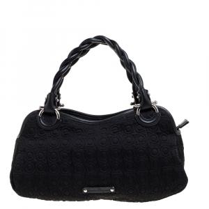 Salvatore Ferragamo Black Gancini Embossed Fabric and Leather Braided Handle Satchel