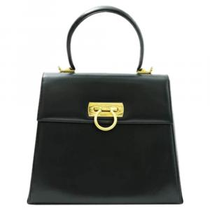 Salvatore Ferragamo Black Gancini Leather Kelly Bag