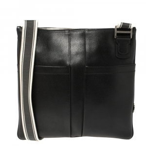 Salvatore Ferragamo Black Leather Messenger Bag