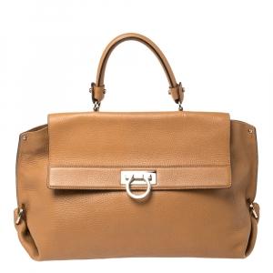 Salvatore Ferragamo Tan Leather Sofia Top Handle Bag