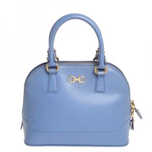 Salvatore Ferragamo Blue Saffiano Leather Darina Satchel