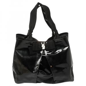 حقيبة يد سالفاتوري فيراغامو سلين جلد لامعة أسود