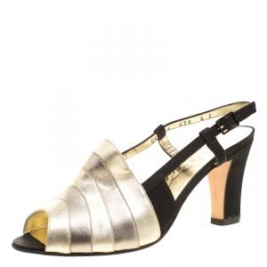 Salvatore Ferragamo Metallic Striped Leather Peep Toe Sandals Size 38.5 - used