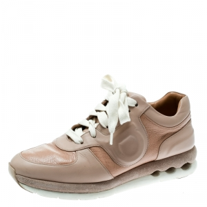 Salvatore Ferragamo Beige Leather Lace Up Sneakers Size 35.5 - used