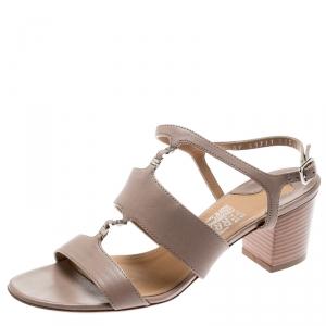Salvatore Ferragamo Beige Leather Block Heel Open Toe Sandals Size 36.5 - used