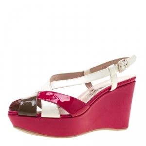 Salvatore Ferragamo Tricolor Patent Leather Cross Ankle Starp Wedge Sandals Size 39.5 - used
