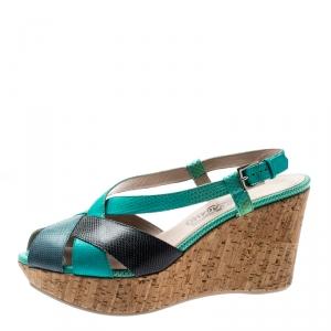 Salvatore Ferragamo Tricolor Lizard Leather Cross Strap Cork Wedge Sandals Size 41 - used