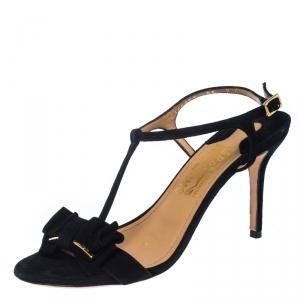 Salvatore Ferragamo Black Suede Pavi T Strap Bow Slingback Sandals Size 37.5 - used