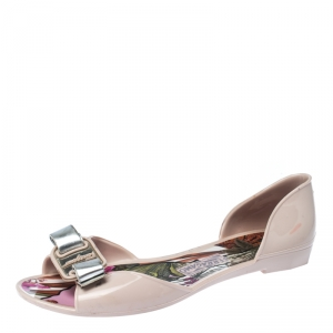 Salvatore Ferragamo Pink Rubber Bow Barbados D-orsay Ballet Flats Size 35.5 - used