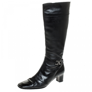 Salvatore Ferragamo Black Leather Gancini Detail Mid Calf Boots Size 36 - used