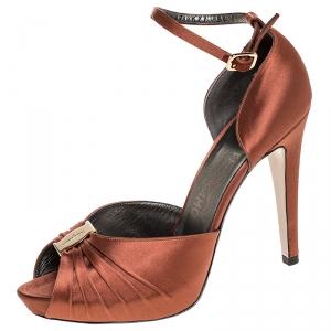 Salvatore Ferragamo Brown Satin Peep Toe Ankle Strap Platform Sandals Size 39
