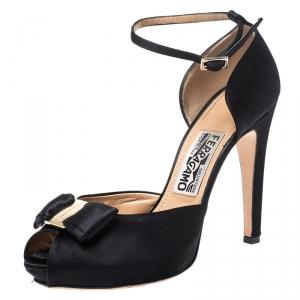 Salvatore Ferragamo Black Satin Bow Peep Toe Ankle Strap Sandals Size 37.5 - used