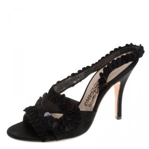 Salvatore Ferragamo Black Satin and Sequins Lucente Sandals Size 38.5 - used