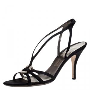 Salvatore Ferragamo Black Satin Strappy Gancini Logo Sandals Size 40.5 - used